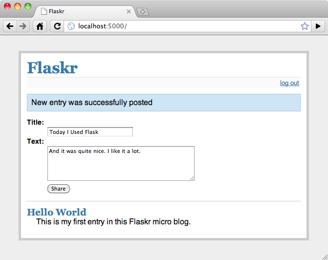 Screenshot of the final application